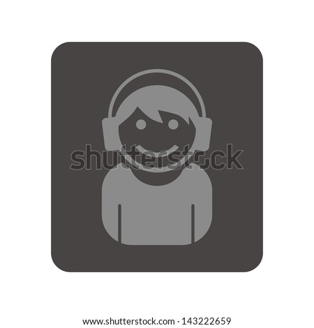 user picture portrait headset guy - stock vector