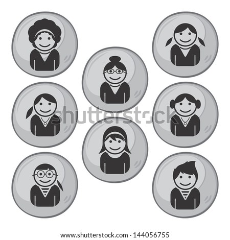 user picture woman set - stock vector