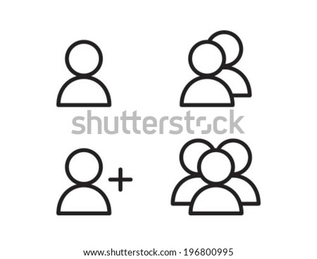 User Profile Group Outline Icon Symbol - stock vector