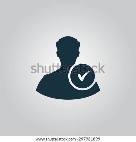 User profile web with check mark glyph. Flat web icon or sign isolated on grey background. Collection modern trend concept design style vector illustration symbol - stock vector