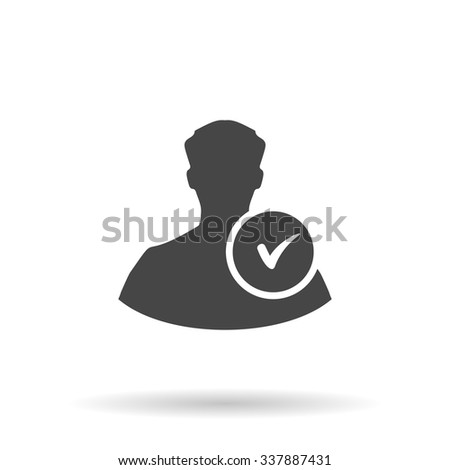 User profile web with check mark glyph. Icon Vector - stock vector
