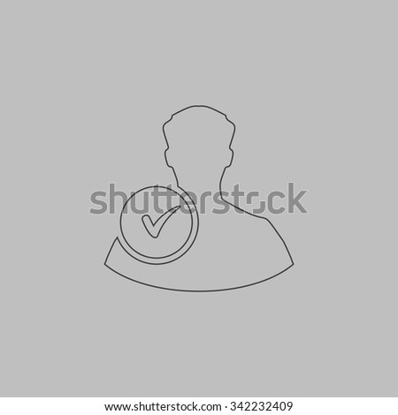 User profile web with check mark glyph. Outlne vector icon on grey background - stock vector
