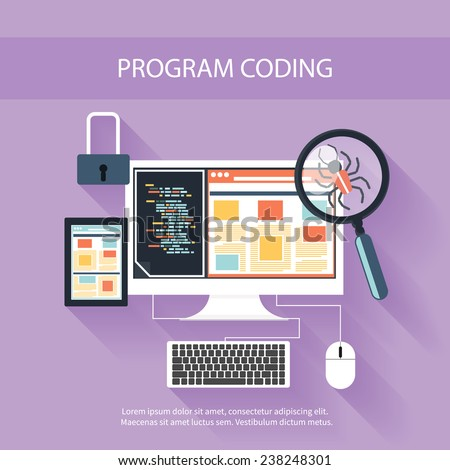 User programming coding in flat design stylish. Icons for application development or software app programming. Web, database, software development - stock vector