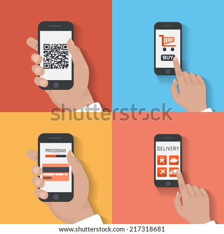 User purchase in the online store Flat design modern vector illustration icons in stylish colors of hand touch screen with business icons, mobile phone scanning qr-code and wireless e-commerce usage. - stock vector