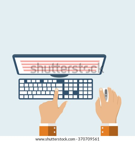User's hands on  keyboard and mouse of computer. Desk office worker concept. Computer, internet, typing. Flat style design, vector illustration.  Modern concept programmer. - stock vector