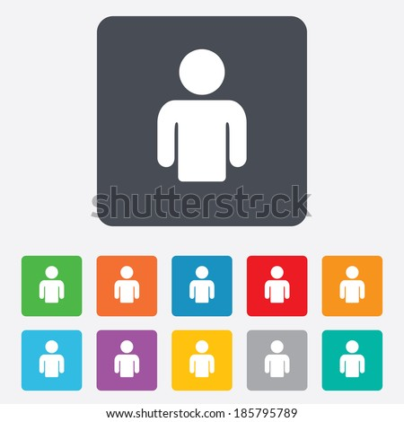 User sign icon. Person symbol. Human avatar. Rounded squares 11 buttons. Vector - stock vector