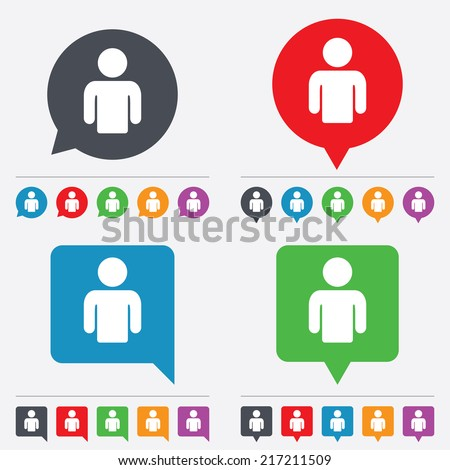 User sign icon. Person symbol. Human avatar. Speech bubbles information icons. 24 colored buttons. Vector - stock vector