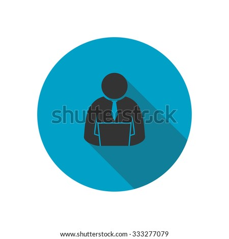 User working with computer, blue circle icon - vector illustration - stock vector