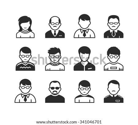 Users avatars. Occupation and people icons. Vector illustration