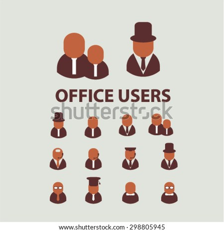 users, avatars, office, businessman, icons, signs, illustrations set, vector - stock vector