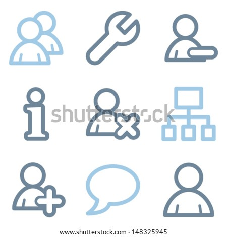 Users icons, blue line contour series - stock vector