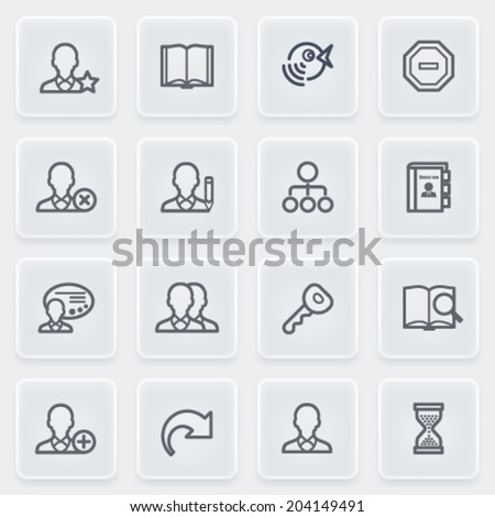 Users icons with plastics buttons on gray background. - stock vector