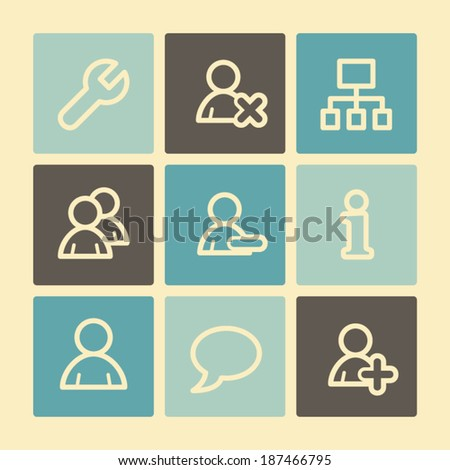 Users web icons, buttons set - stock vector
