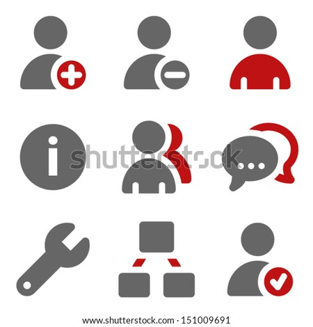 Users web icons, dark red and grey - stock vector