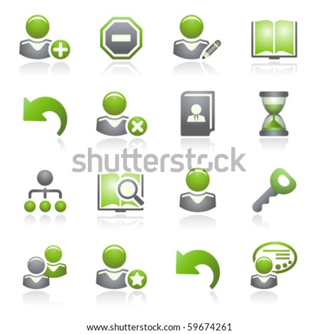 Users web icons.Gray and green series. - stock vector
