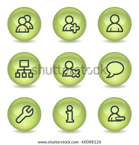 Users web icons, green glossy circle buttons - stock vector