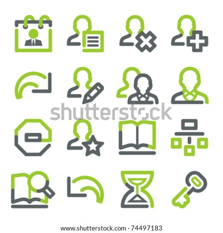 Users web icons. Green gray contour series. - stock vector