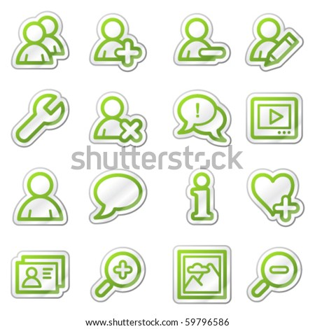 Users web icons, green sticker series - stock vector