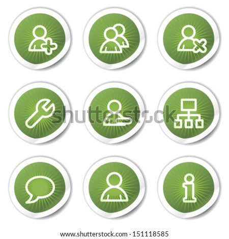 Users web icons, green  stickers - stock vector