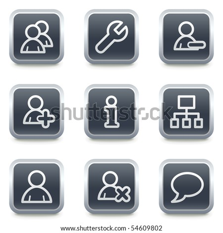 Users web icons, grey square buttons - stock vector