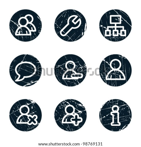 Users web icons, grunge circle buttons - stock vector