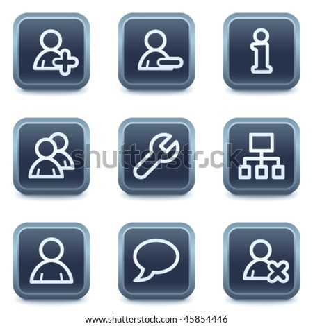 Users web icons, mineral square buttons series - stock vector