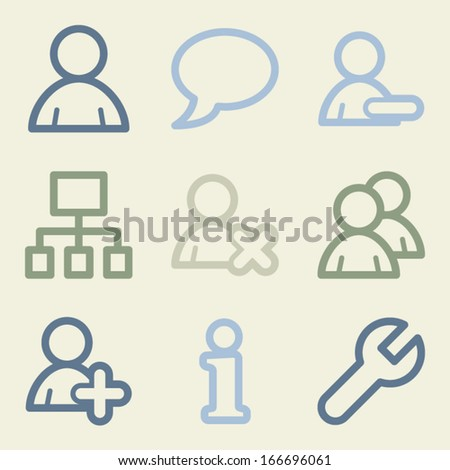 Users web icons, money color set - stock vector