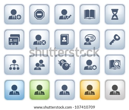 Users web icons on buttons. Color series. - stock vector