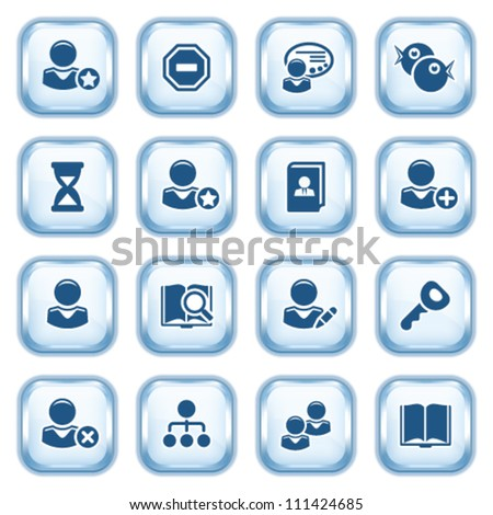 Users web icons on glossy buttons. - stock vector