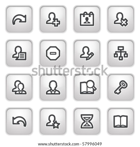 Users web icons on gray buttons. - stock vector