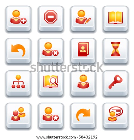 Users web icons. Red and yellow series. - stock vector
