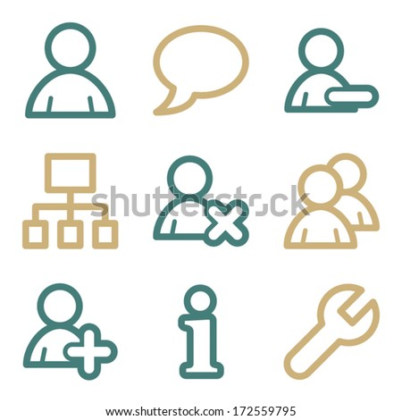 Users web icons, two color series - stock vector