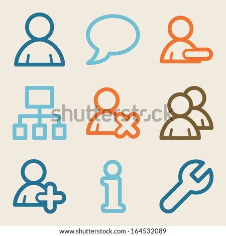 Users web icons, vintage series - stock vector