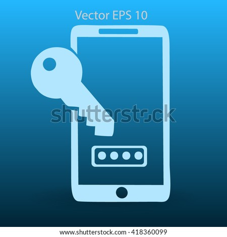 Using a password to prevent unauthorized access vector icon - stock vector