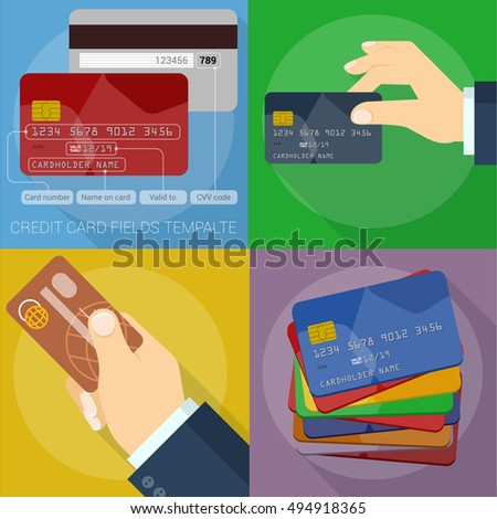 Using credit card. Flat design icons and element set. Vector mock up.