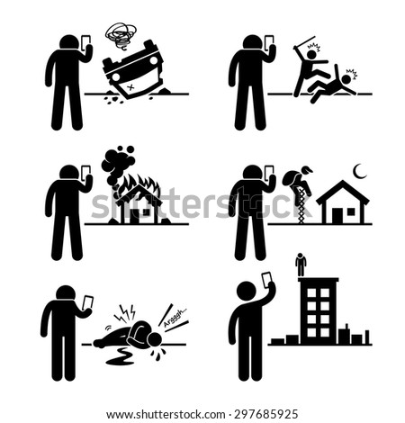 Using Phone Camera to Take and Record Video Picture of Incident Stick Figure Pictogram Icons - stock vector