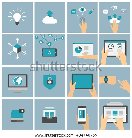 Using tablet, mobile phone and smart devices in different situations - shopping, watching video, working, social networking - set of flat design illustrations  - stock vector