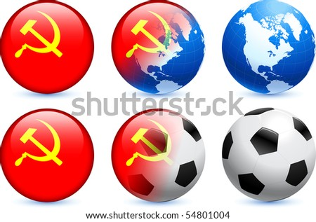 USSR Flag Button with Global Soccer Event Original Illustration - stock vector