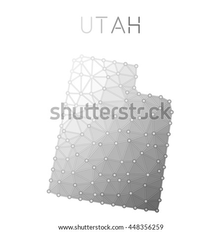 Utah Polygonal Vector Map Molecular Structure Us State Map Design Network Connections Polygonal Utah