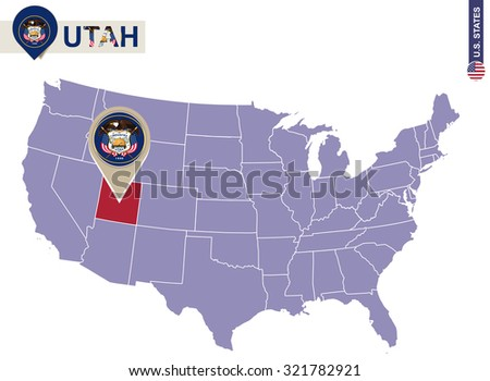 Michigan State On Usa Map Michigan Stock Vector - Map usa utah