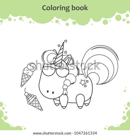 Ute Unicorn In Sunglass Eats Ice Cream Coloring Page For Kids
