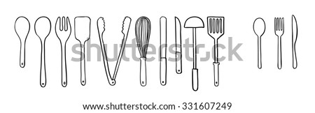 utensil doodle, drawing - stock vector