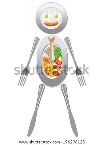 Utensil & food plates forming human figure vector - stock vector