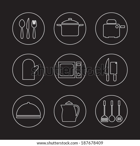 Utensils Icons set 9 - stock vector