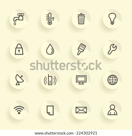Utilities and engineering service of buildings icons - stock vector