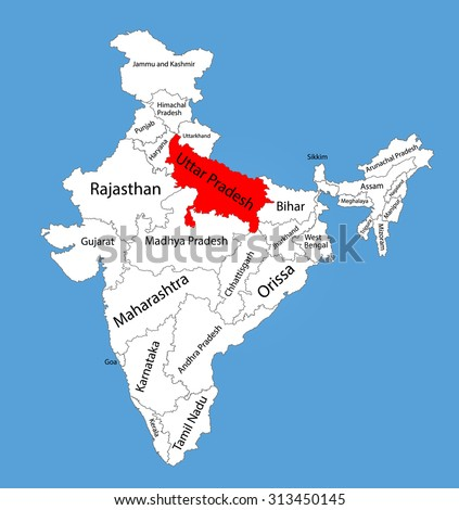 Uttar Pradesh state, India, vector map silhouette illustration isolated on India map. Editable blank vector map of India.