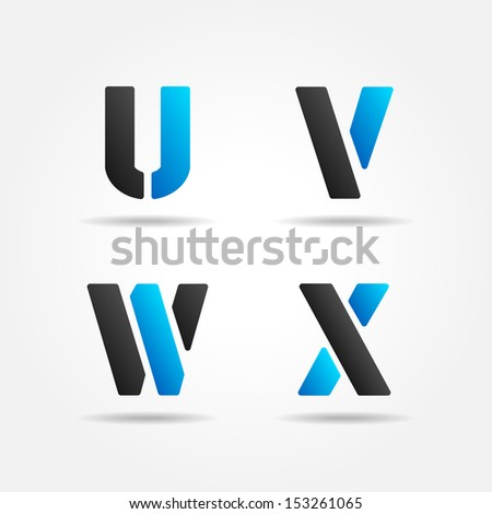 UVWX blue - stock vector