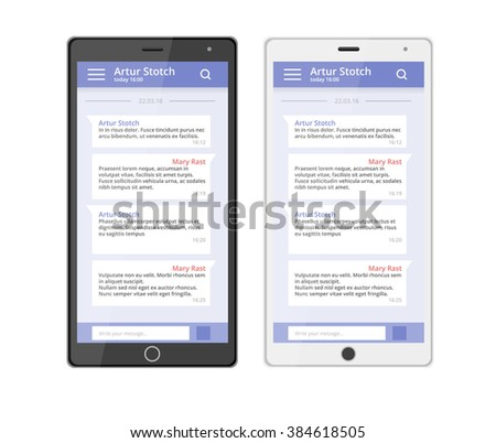 Ux design chat phone chat interface. Massage app with speech bubbles. Short message service bubbles. Smartphone chatting sms template bubbles. Chatting app. Chat interface. - stock vector