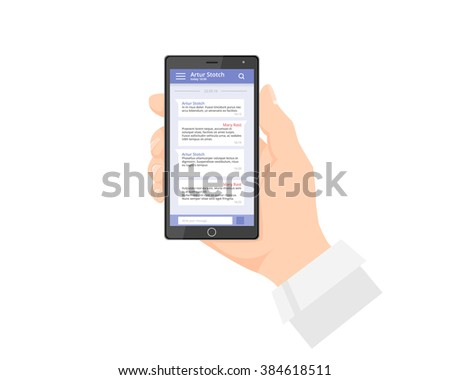 Ux design chat phone chat interface. Massage app with speech bubbles. Short message service bubbles. Smartphone chatting sms template bubbles. Chatting app. Chat interface. Hand holding phone - stock vector