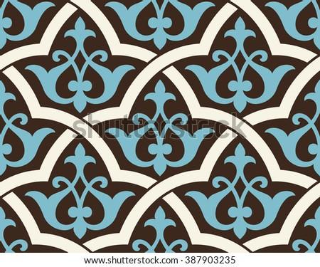 Uzbekistan Antique Seamless Pattern. Traditional Islamic Design. Mosque decoration element. - stock vector